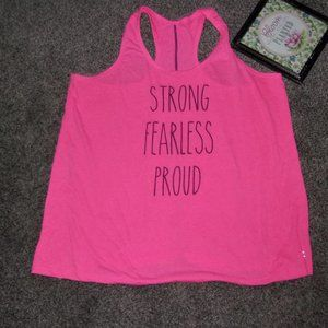 2x / extra large loose womens active wear tee shirt tank top  pink graphic